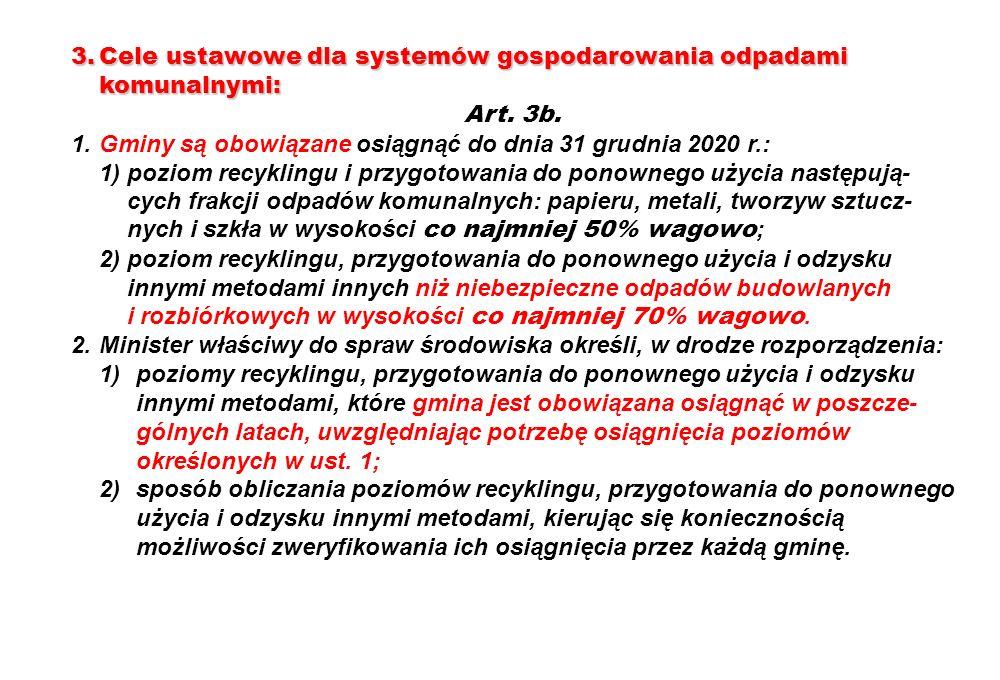 3. Cele ustawowe dla systemów gospodarowania odpadami komunalnymi: