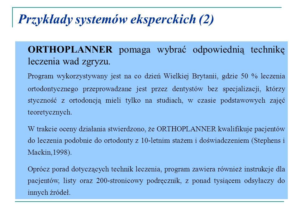 Przykłady systemów eksperckich (2)