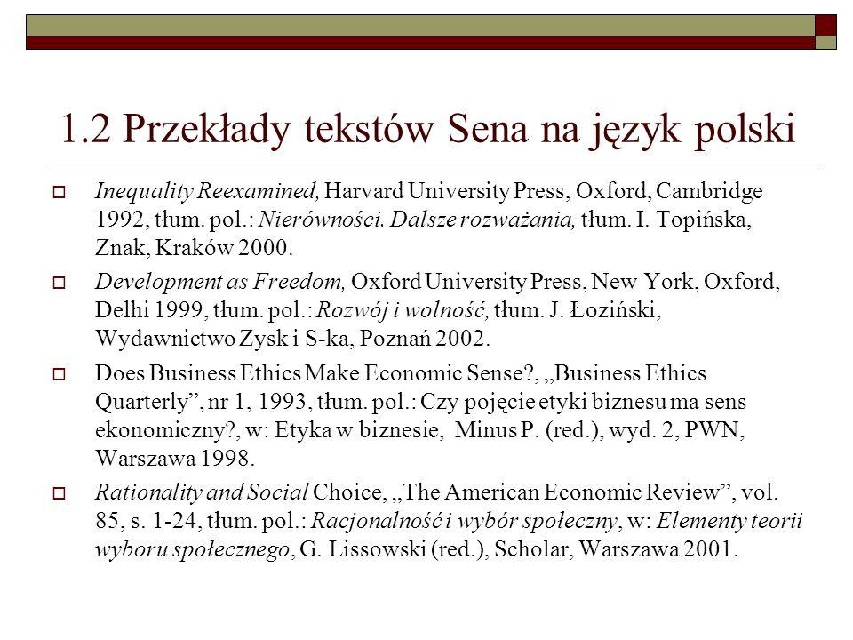 1.2 Przekłady tekstów Sena na język polski