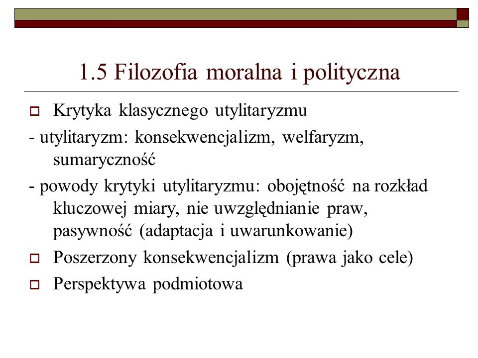 1.5 Filozofia moralna i polityczna