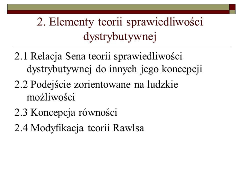 2. Elementy teorii sprawiedliwości dystrybutywnej