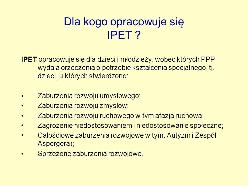 Dla kogo opracowuje się IPET