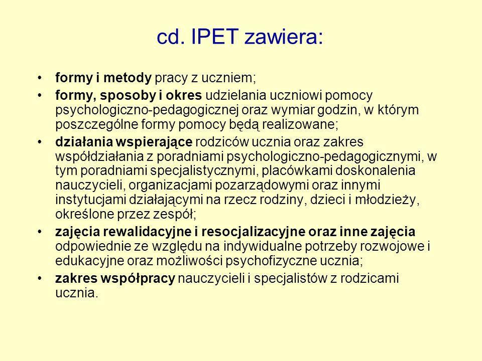 cd. IPET zawiera: formy i metody pracy z uczniem;