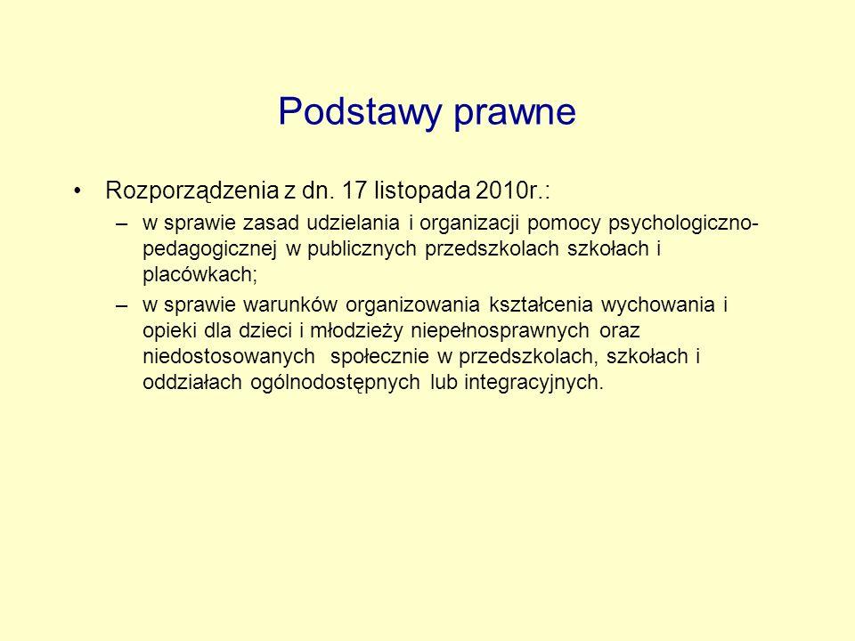 Podstawy prawne Rozporządzenia z dn. 17 listopada 2010r.: