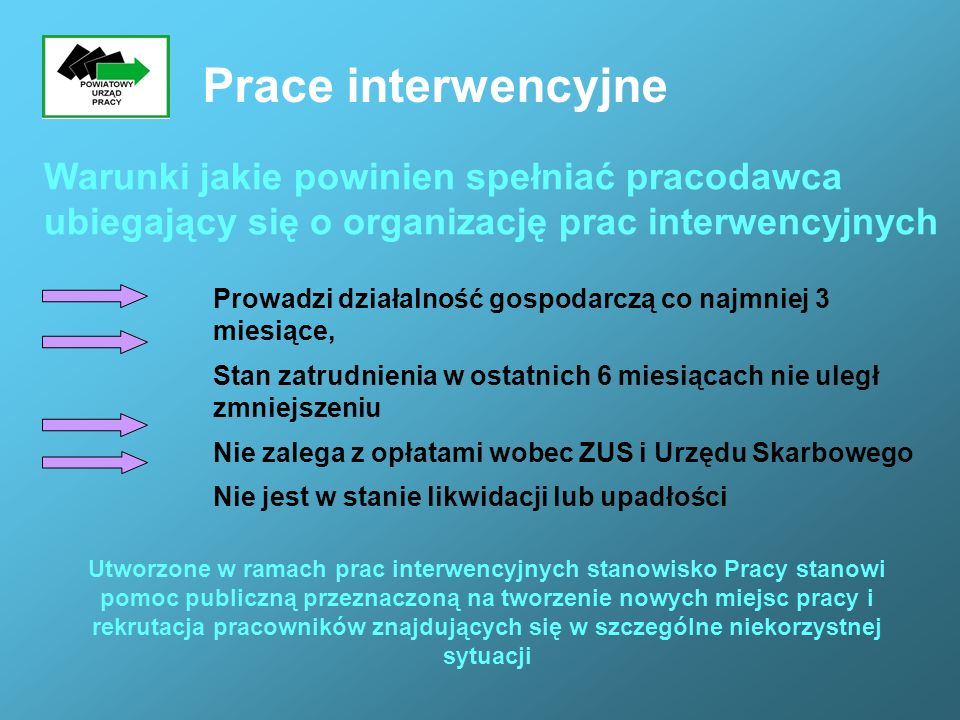 Prace interwencyjne Warunki jakie powinien spełniać pracodawca ubiegający się o organizację prac interwencyjnych.