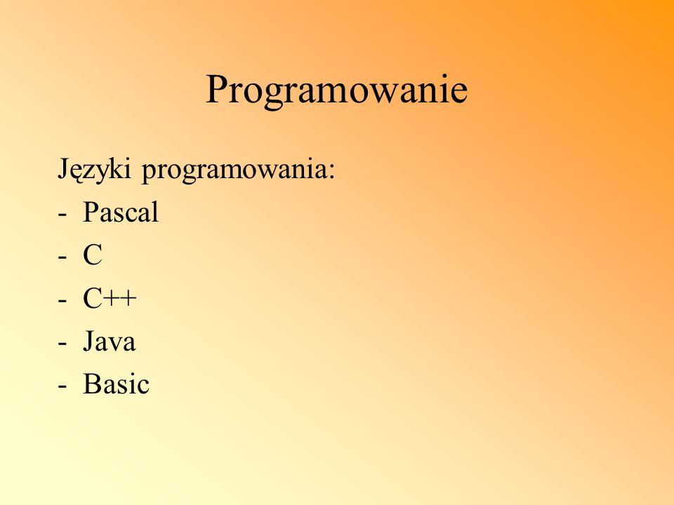 Programowanie Języki programowania: Pascal C C++ Java Basic