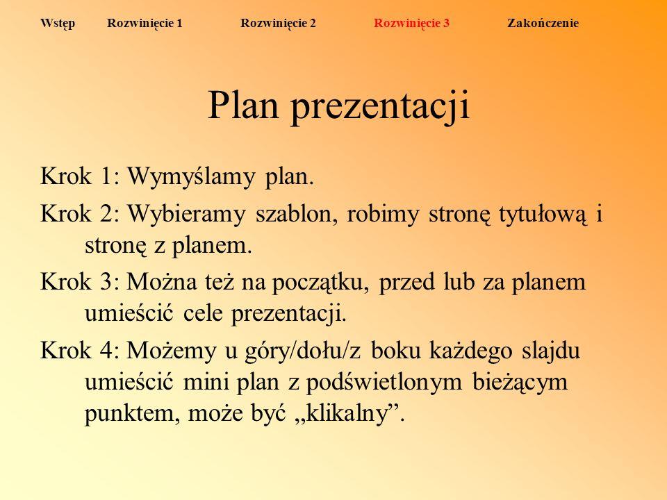 Plan prezentacji Krok 1: Wymyślamy plan.