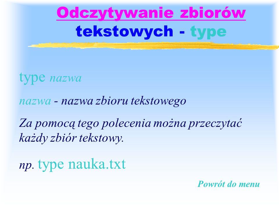 Odczytywanie zbiorów tekstowych - type