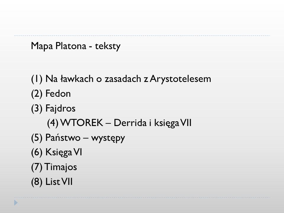 Mapa Platona - teksty(1) Na ławkach o zasadach z Arystotelesem. (2) Fedon. (3) Fajdros. (4) WTOREK – Derrida i księga VII.