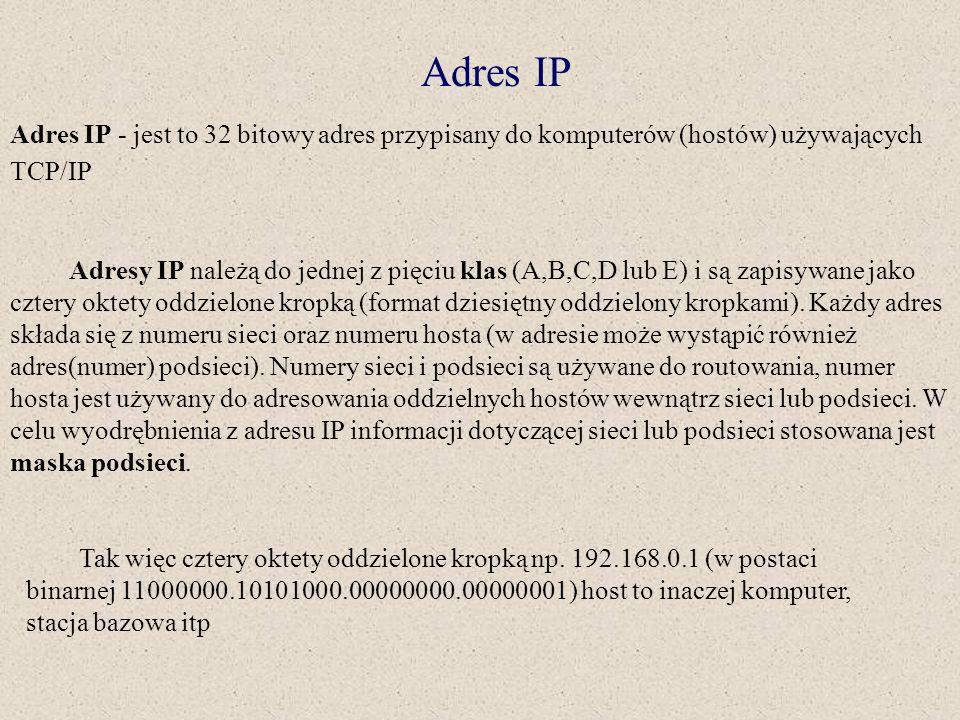 Adres IP Adres IP - jest to 32 bitowy adres przypisany do komputerów (hostów) używających TCP/IP.