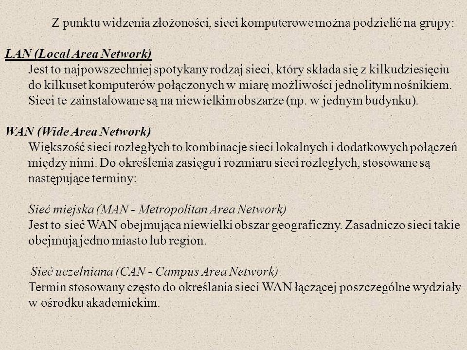 Z punktu widzenia złożoności, sieci komputerowe można podzielić na grupy: