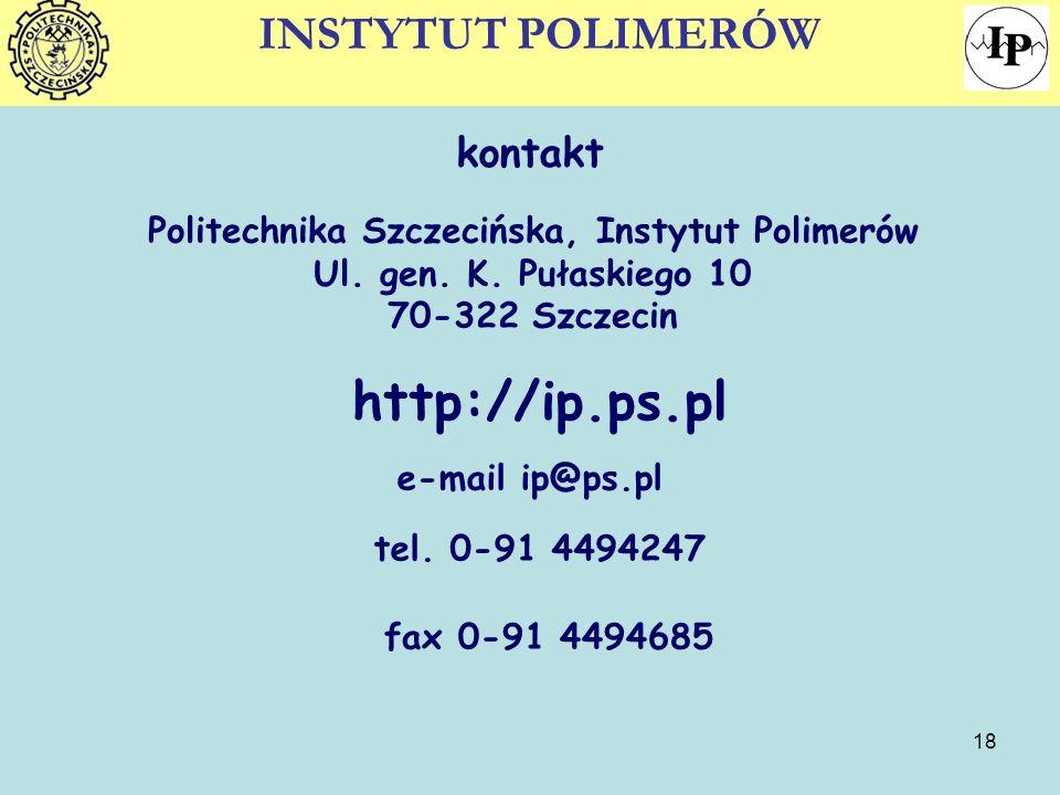 Politechnika Szczecińska, Instytut Polimerów