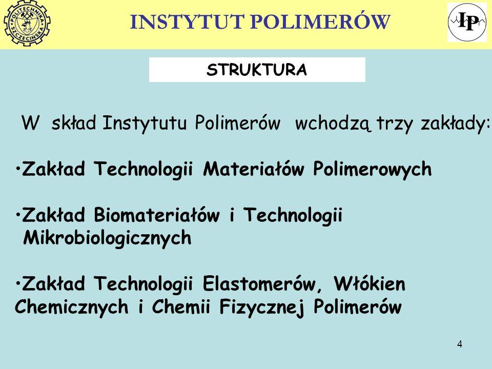 INSTYTUT POLIMERÓW W skład Instytutu Polimerów wchodzą trzy zakłady: