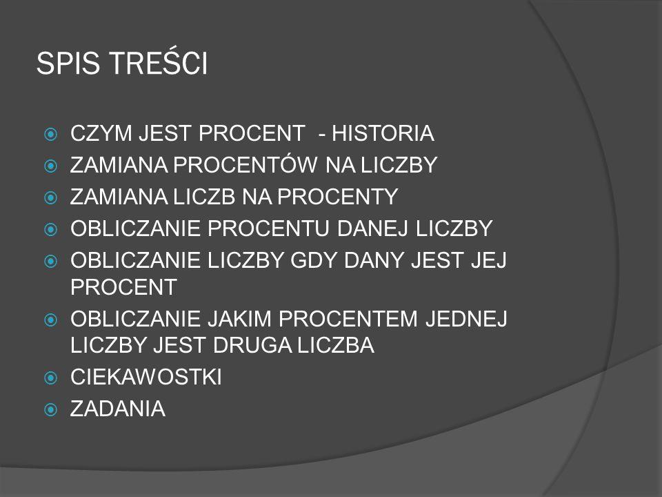 SPIS TREŚCI CZYM JEST PROCENT - HISTORIA ZAMIANA PROCENTÓW NA LICZBY