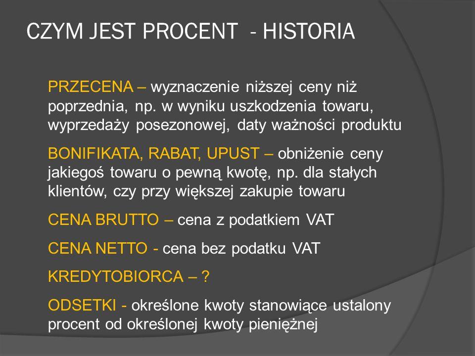 CZYM JEST PROCENT - HISTORIA