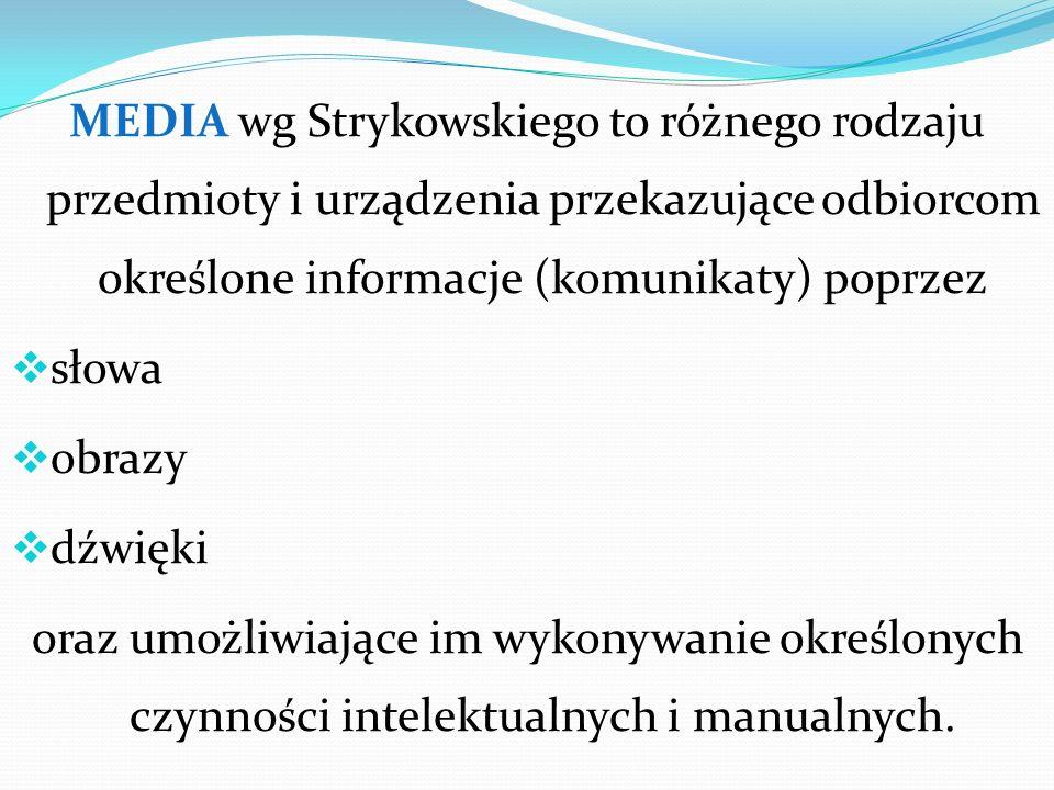 MEDIA wg Strykowskiego to różnego rodzaju przedmioty i urządzenia przekazujące odbiorcom określone informacje (komunikaty) poprzez