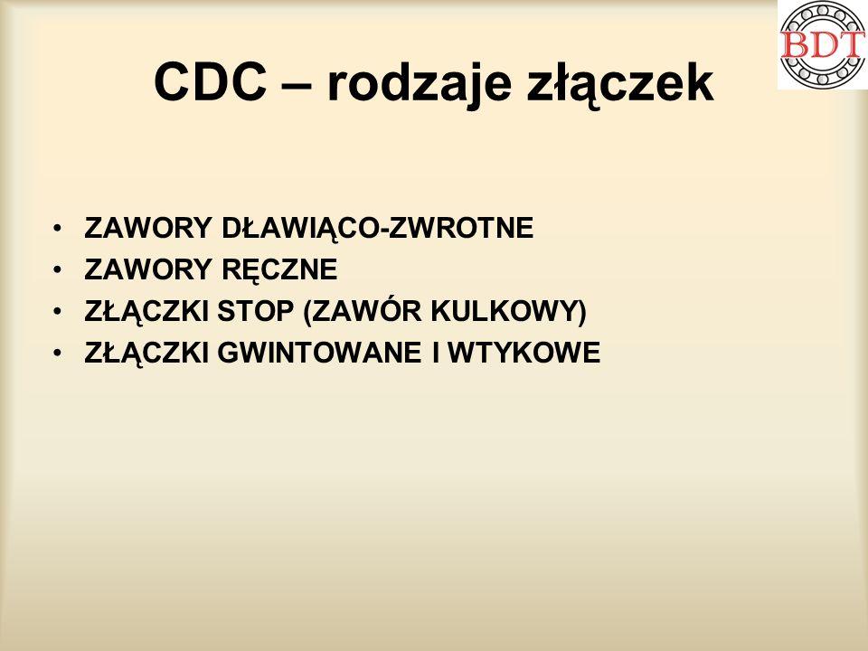 CDC – rodzaje złączek ZAWORY DŁAWIĄCO-ZWROTNE ZAWORY RĘCZNE