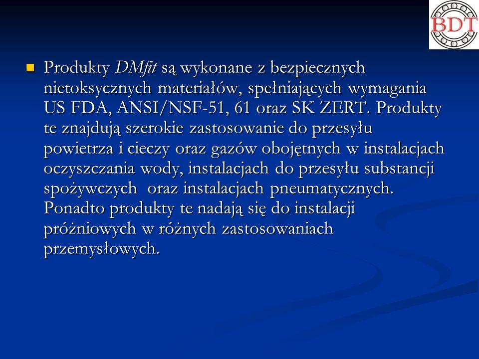 Produkty DMfit są wykonane z bezpiecznych nietoksycznych materiałów, spełniających wymagania US FDA, ANSI/NSF-51, 61 oraz SK ZERT.