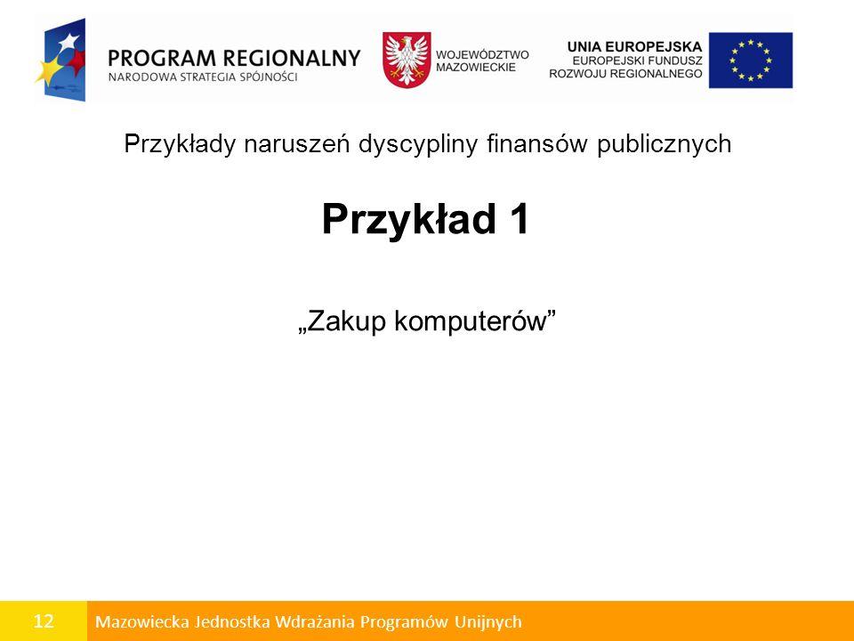 Przykłady naruszeń dyscypliny finansów publicznych