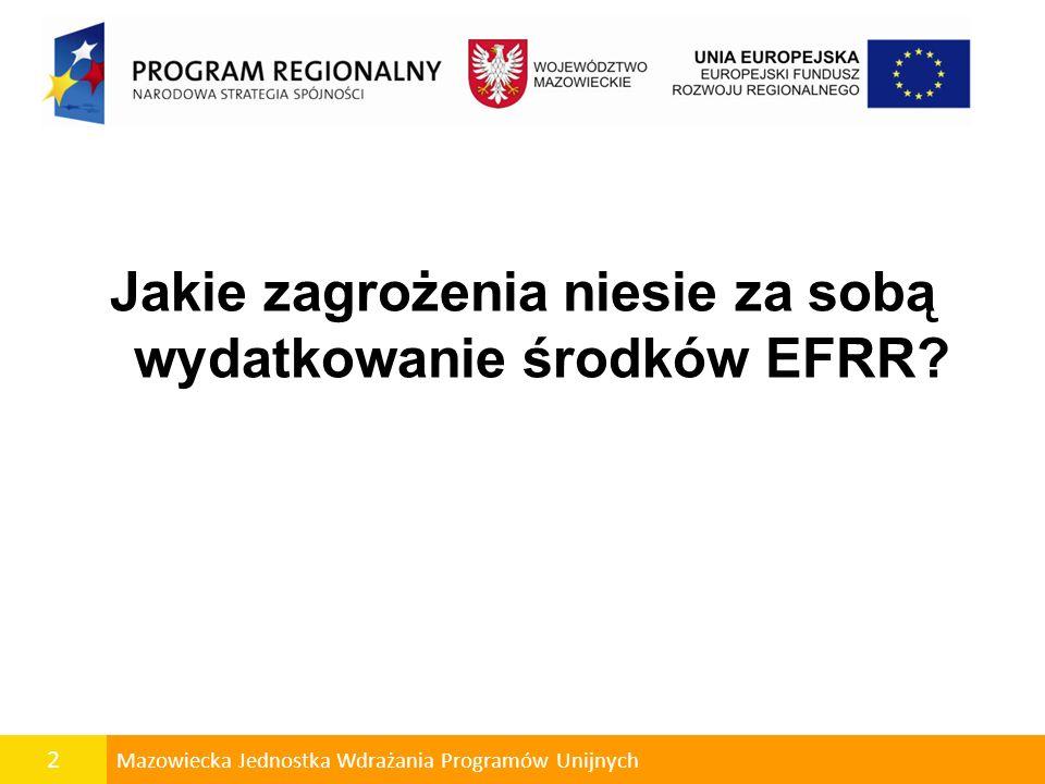Jakie zagrożenia niesie za sobą wydatkowanie środków EFRR