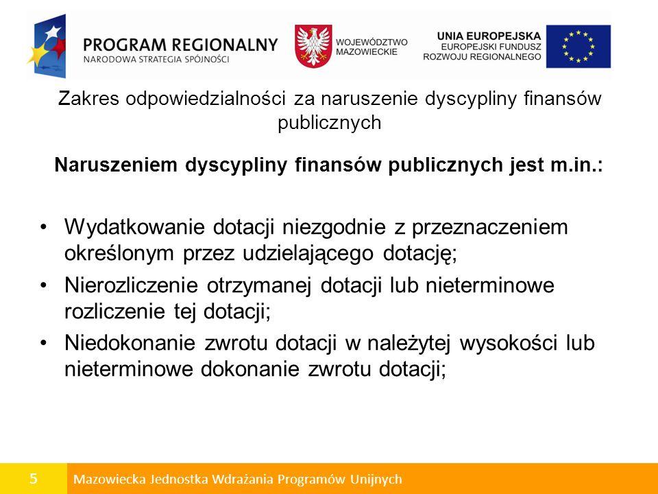 Zakres odpowiedzialności za naruszenie dyscypliny finansów publicznych