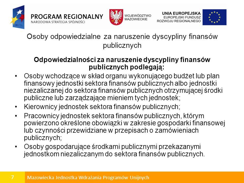 Osoby odpowiedzialne za naruszenie dyscypliny finansów publicznych