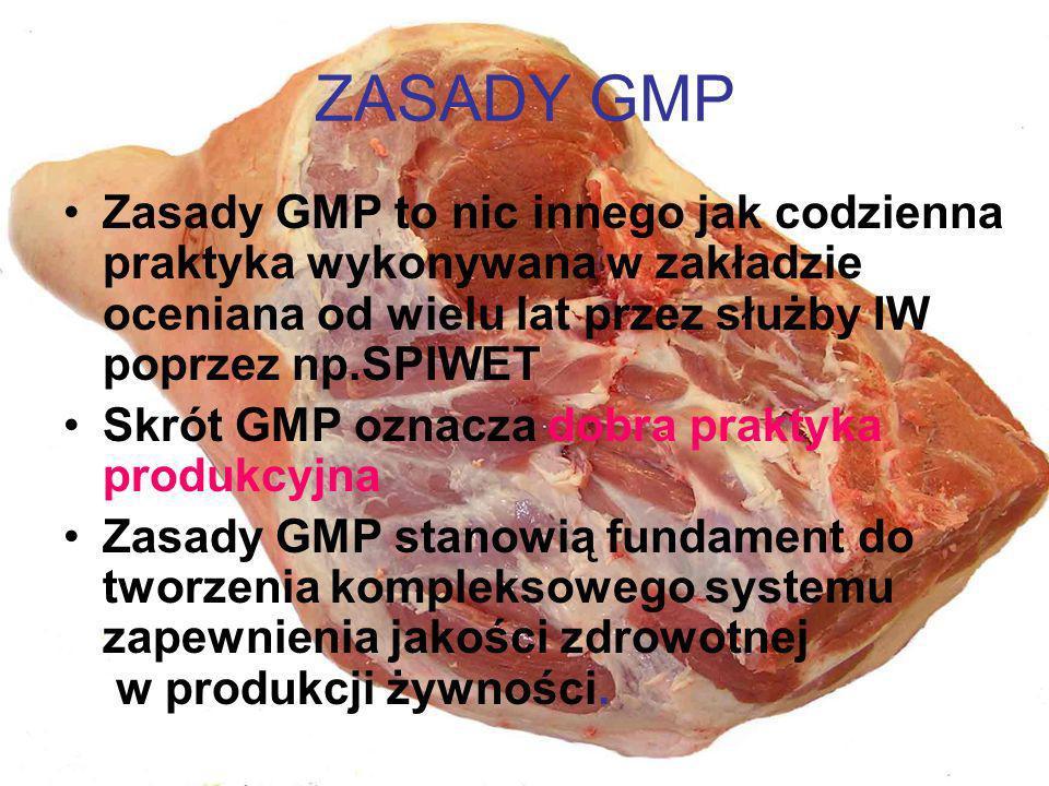 ZASADY GMP Zasady GMP to nic innego jak codzienna praktyka wykonywana w zakładzie oceniana od wielu lat przez służby IW poprzez np.SPIWET.