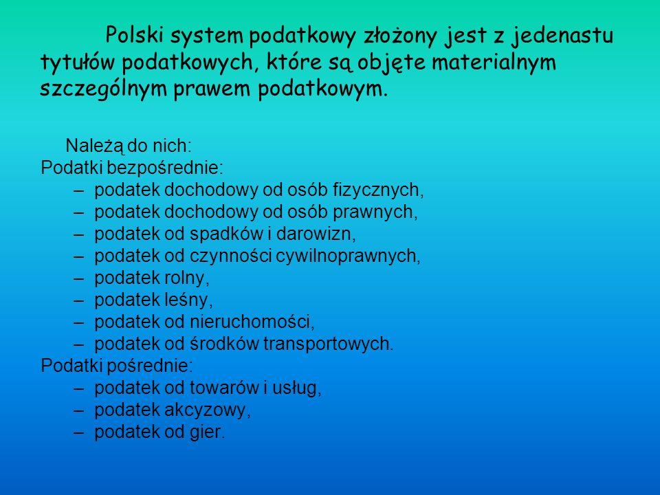 Polski system podatkowy złożony jest z jedenastu tytułów podatkowych, które są objęte materialnym szczególnym prawem podatkowym.