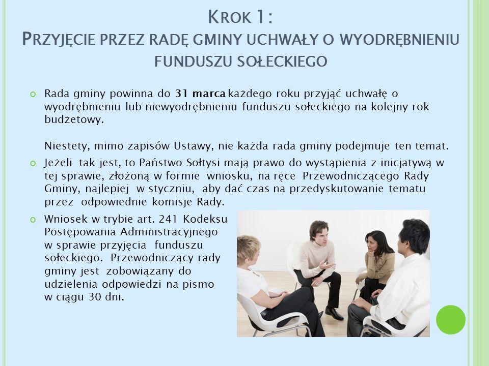 Krok 1: Przyjęcie przez radę gminy uchwały o wyodrębnieniu funduszu sołeckiego