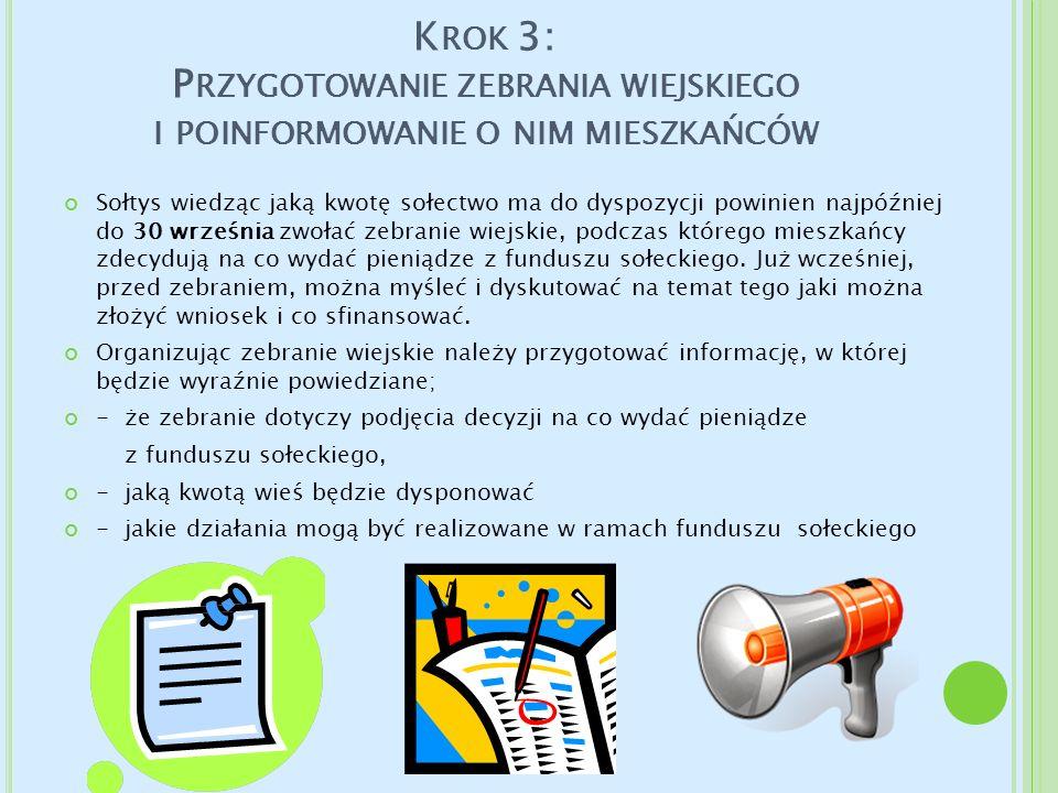 Krok 3: Przygotowanie zebrania wiejskiego i poinformowanie o nim mieszkańców