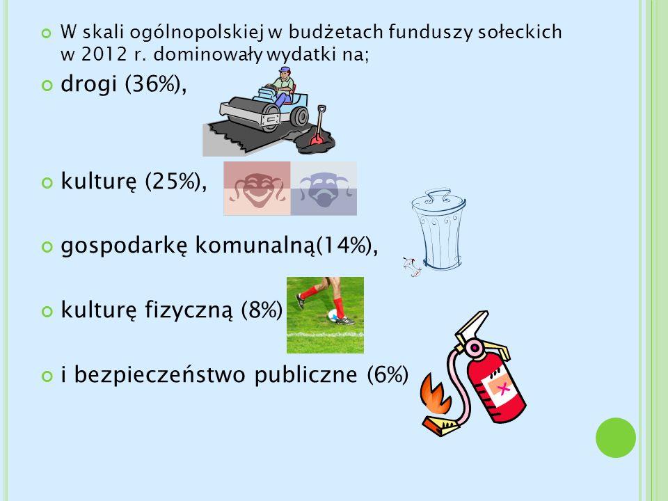 gospodarkę komunalną(14%), kulturę fizyczną (8%)