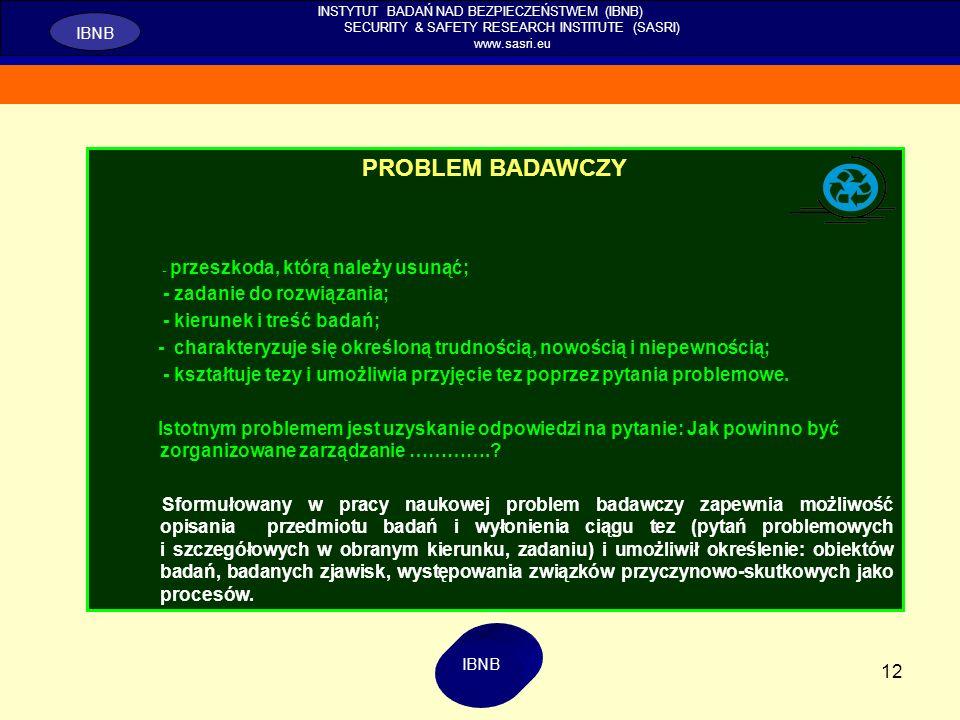 PROBLEM BADAWCZY - zadanie do rozwiązania; - kierunek i treść badań;