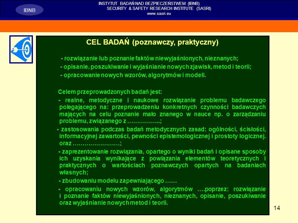 CEL BADAŃ (poznawczy, praktyczny)