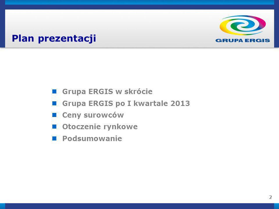 Plan prezentacji Grupa ERGIS w skrócie Grupa ERGIS po I kwartale 2013
