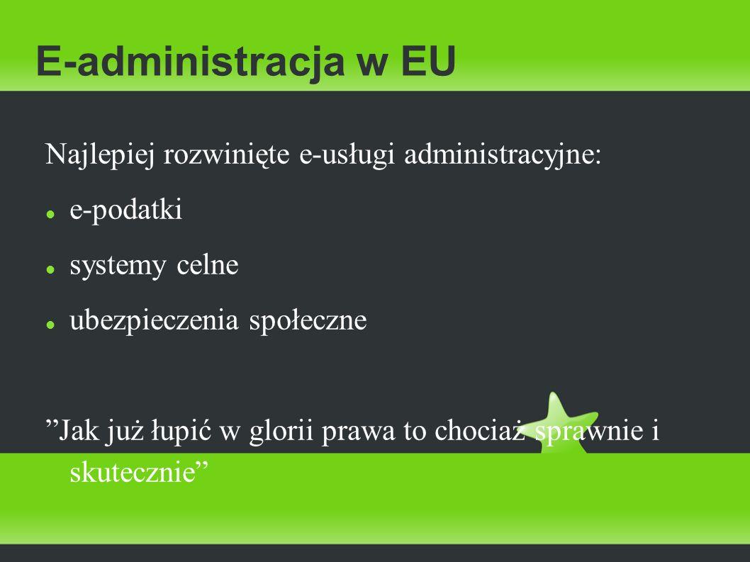 E-administracja w EU Najlepiej rozwinięte e-usługi administracyjne: