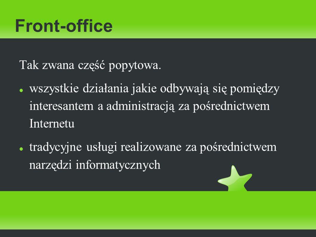 Front-office Tak zwana część popytowa.