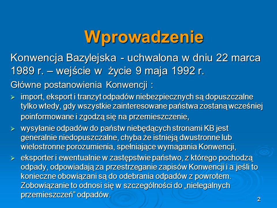 WprowadzenieKonwencja Bazylejska - uchwalona w dniu 22 marca 1989 r. – wejście w życie 9 maja 1992 r.