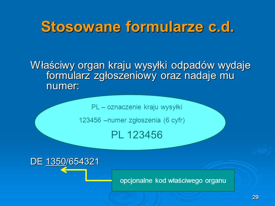 Stosowane formularze c.d.