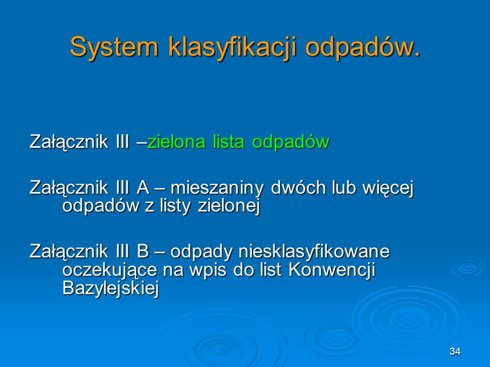 System klasyfikacji odpadów.