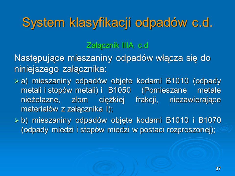 System klasyfikacji odpadów c.d.
