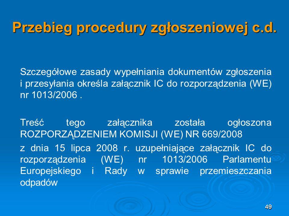 Przebieg procedury zgłoszeniowej c.d.