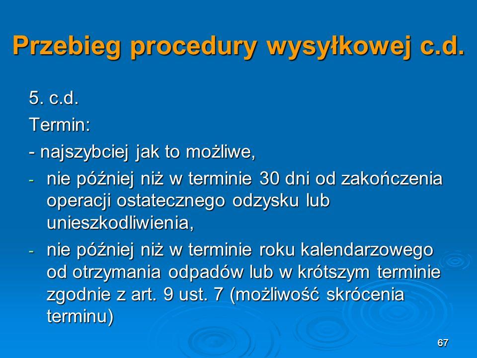 Przebieg procedury wysyłkowej c.d.