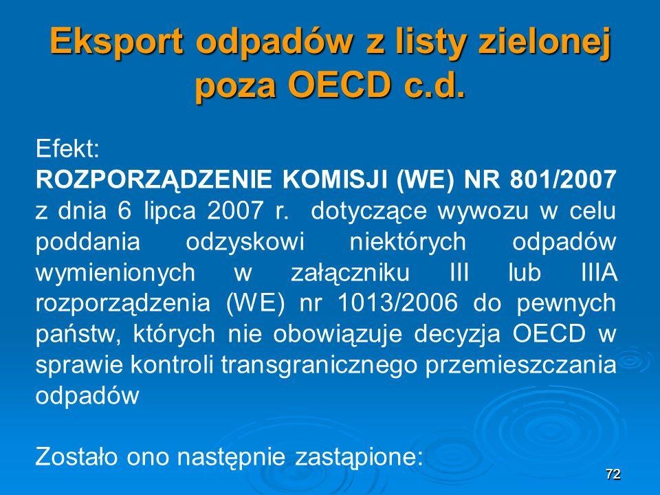 Eksport odpadów z listy zielonej poza OECD c.d.