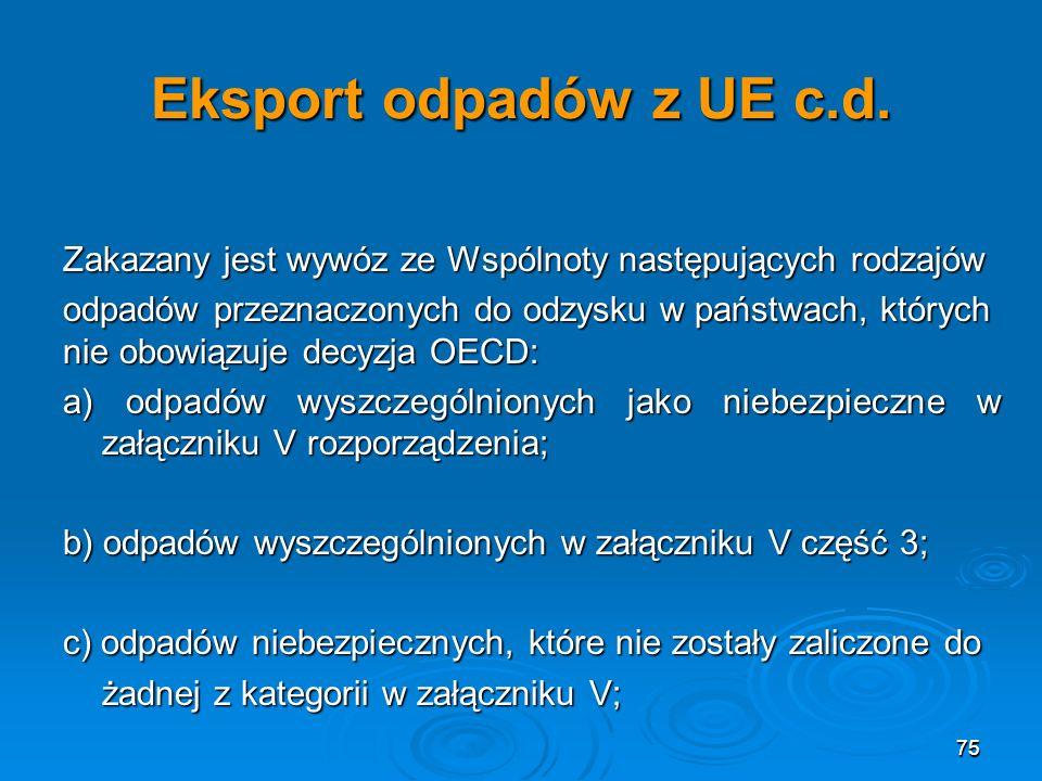 Eksport odpadów z UE c.d. Zakazany jest wywóz ze Wspólnoty następujących rodzajów.