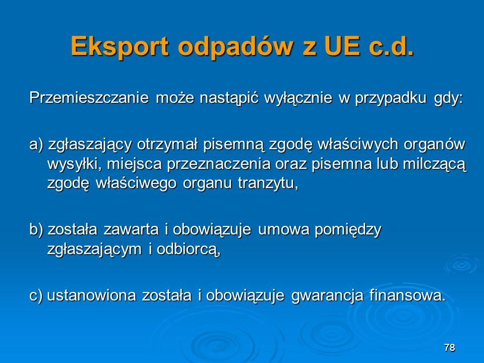 Eksport odpadów z UE c.d. Przemieszczanie może nastąpić wyłącznie w przypadku gdy: