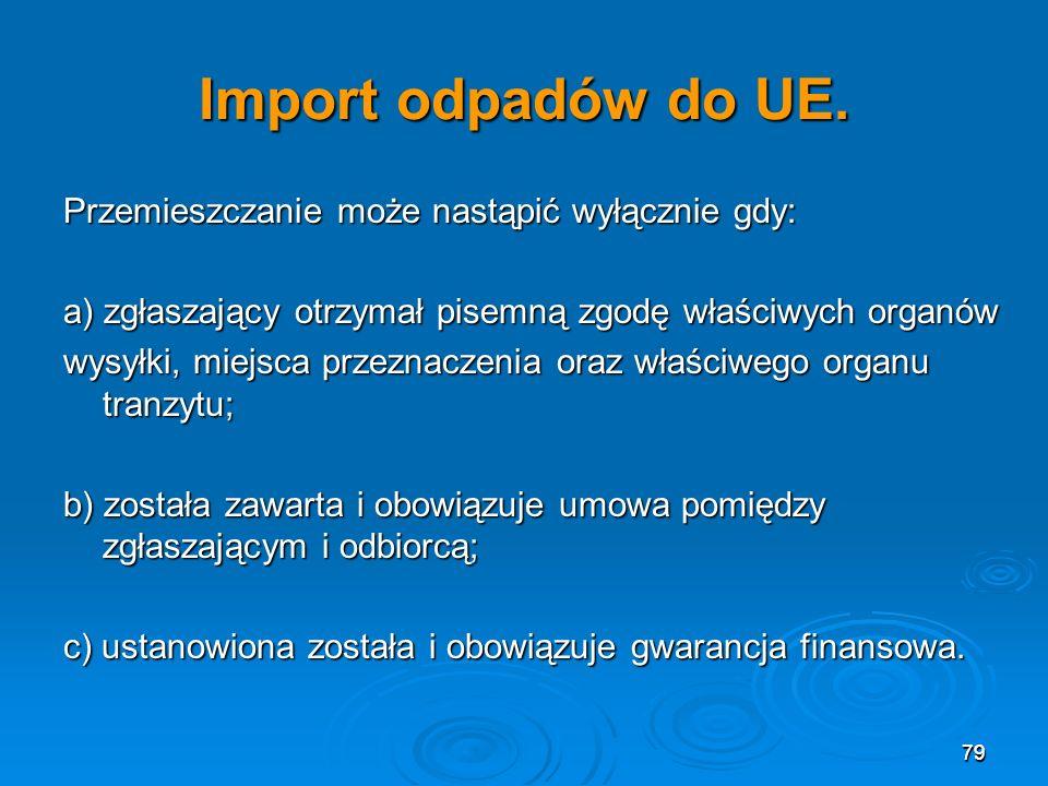 Import odpadów do UE. Przemieszczanie może nastąpić wyłącznie gdy: