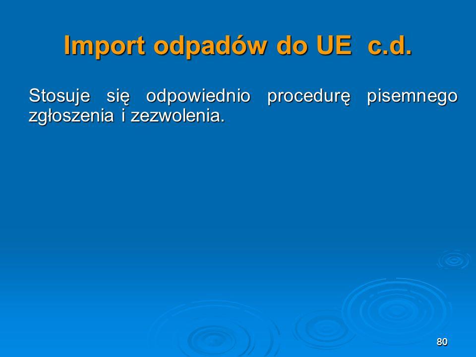 Import odpadów do UE c.d. Stosuje się odpowiednio procedurę pisemnego zgłoszenia i zezwolenia. 80