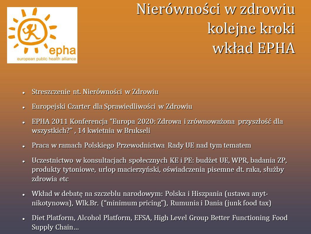 Nierówności w zdrowiu kolejne kroki wkład EPHA