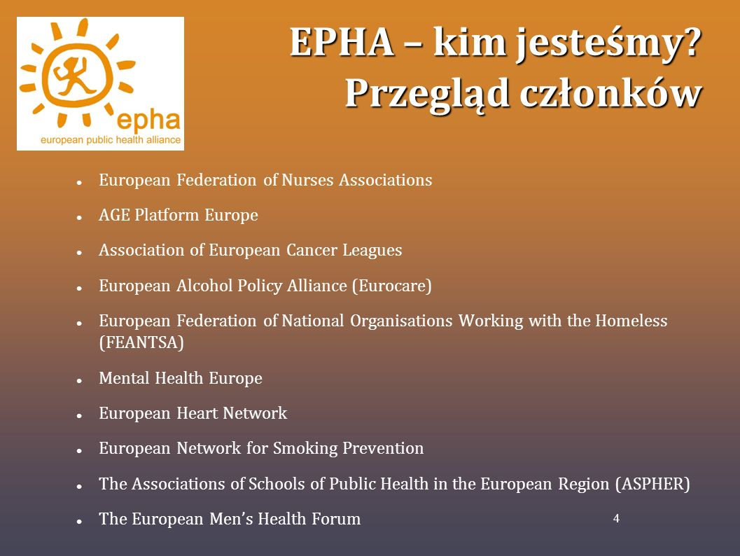 EPHA – kim jesteśmy Przegląd członków