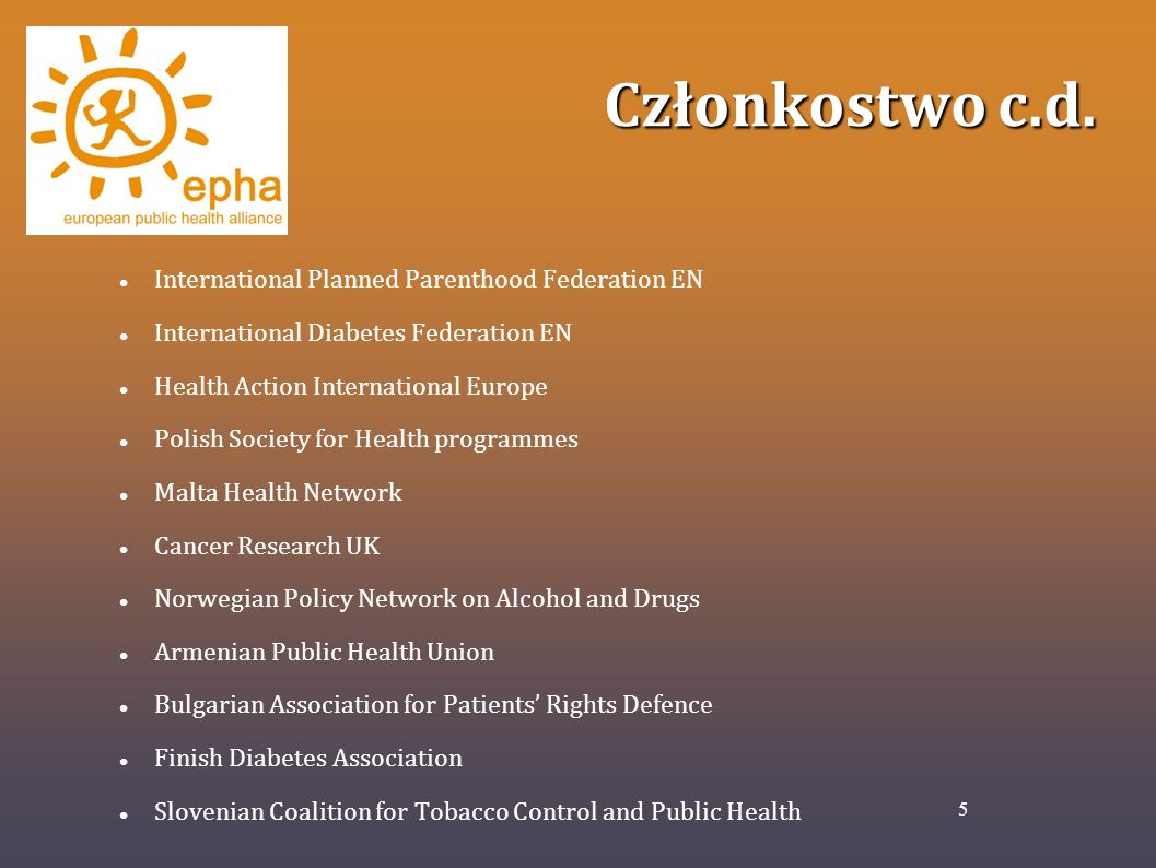 Członkostwo c.d. International Planned Parenthood Federation EN